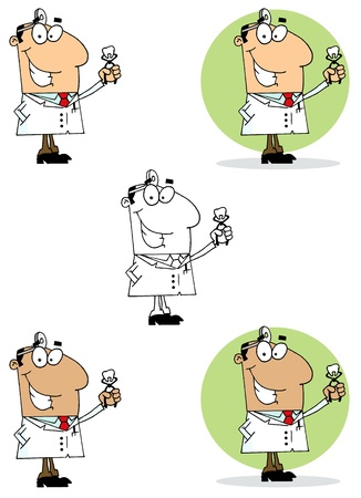 oral hygiene: Dentist Man Holding An Extracted Tooth Collection Illustration