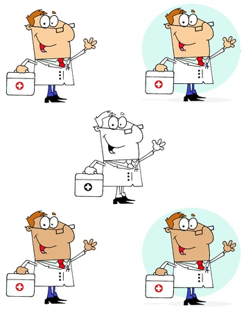 Doctor Man Carrying His Medical Bag Collection Vector