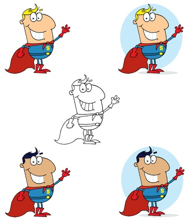 Super Hero Waving Man Collection Vector