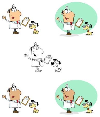 Veterinarian Man With A Dog Collection Vector