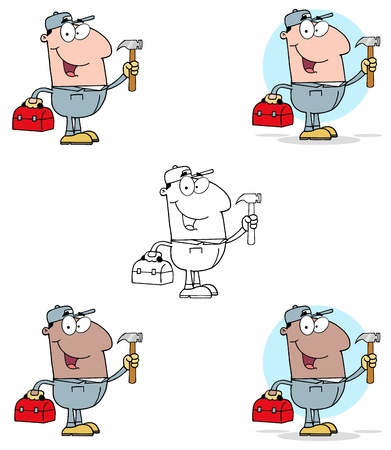 constructor: Construction Worker With Hammer And Tool Box Collection Illustration