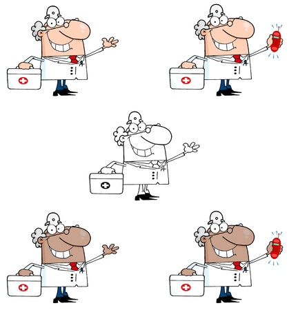 Doctor With A First Aid Kit And Phone Ringing  Collection Vector