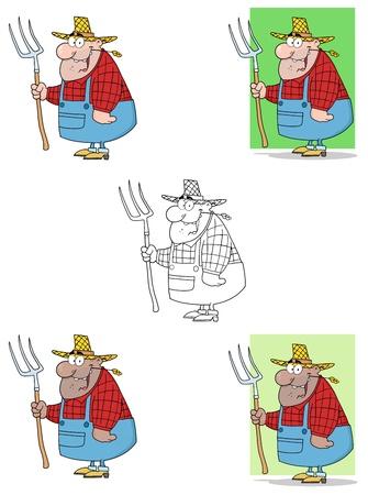 Lucky Farmer Man Carrying A Rake Collection Stock Vector - 13343733