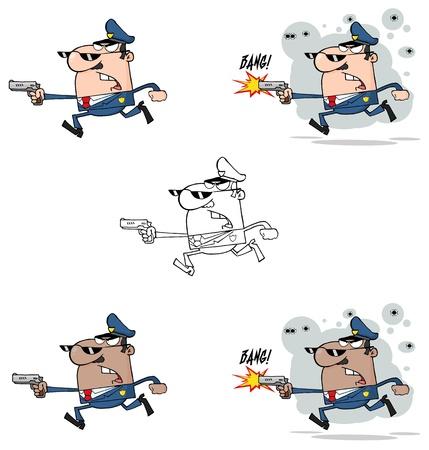 runing: Polic�a hombre corriendo con una colecci�n de armas