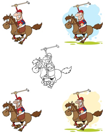 Polo Player Holding Up A Stick Vector