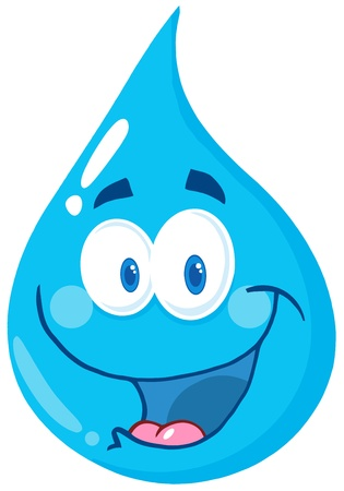 Happy Water Drop Cartoon Character