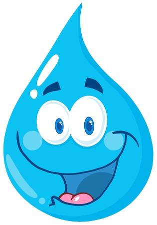 kropla deszczu: Szczęśliwy Kropla wody Cartoon Character Ilustracja