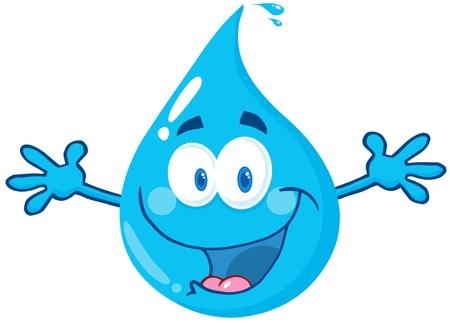 goutte de pluie: Goutte d'eau Heureux Avec bienvenue Open Arms Illustration