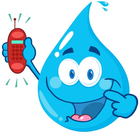 Happy Water Drop Cartoon Character Holding A Telephone Vettoriali