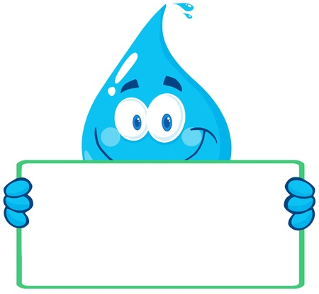 Happy Water Drop Character Holding A Banner Vectores