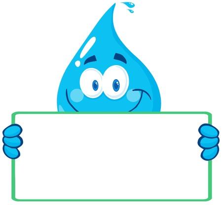 regentropfen: Gl�ckliche Water Drop Charakter h�lt eine Fahne Illustration
