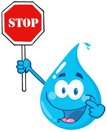 Happy Water Drop Character Holding A Stop Sign Vector