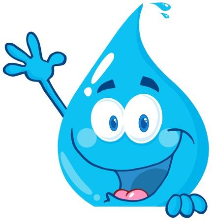 goutte de pluie: Goutte d'eau sur un signe heureux Agitant