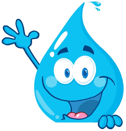 Happy Water Drop Over A Sign Waving Vector