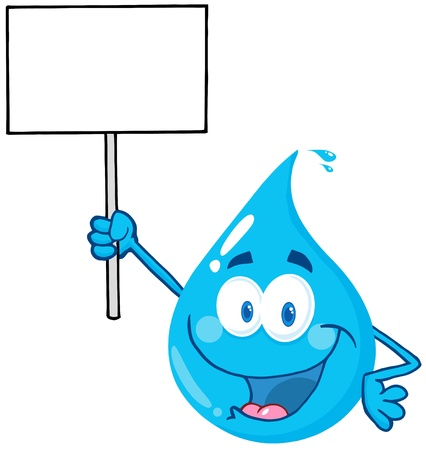 drops of water: Happy Water Drop Character Holding Up A Blank Sign Illustration