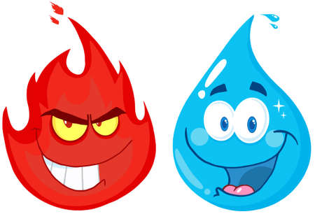 blue flame: Flame And Water  Cartoon Characters