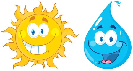 Sun And Water  Cartoon Characters Vector