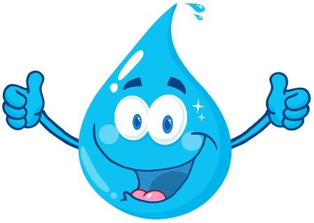 Lachend Water Drop Met Een Dubbele Thumbs Up