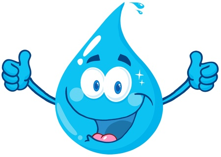 Smiling Water Drop Showing A Double Thumbs Up