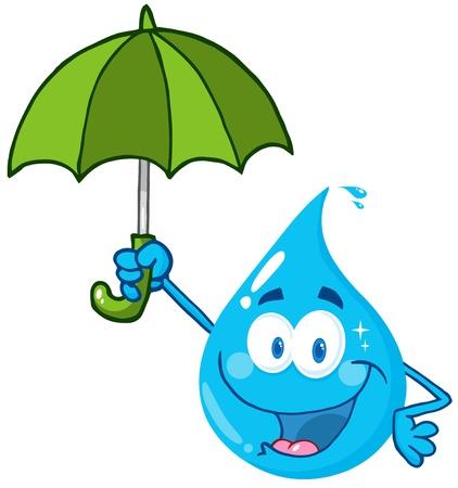kropla deszczu: Uśmiechnięty kropla wody z parasolem Ilustracja