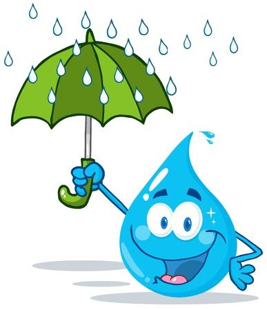 kropla deszczu: Uśmiechnięty kropla wody z parasolem w deszczu Ilustracja