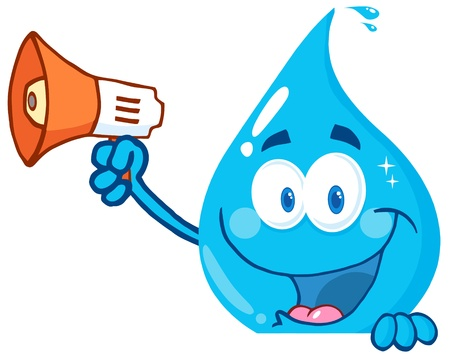 Smiling Water Drop Holding Up A Megaphone Over A Sign