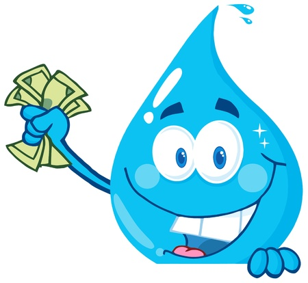 Happy Water Drop Holding Money Over A Sign Vector