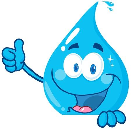 gotas de agua: El agua caída sonriente mostrando los pulgares para arriba