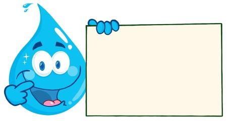 agua: Feliz gota del agua del personaje de dibujos animados que sostiene un cartel en blanco
