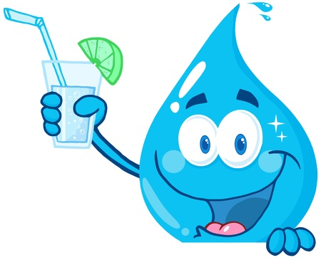 Happy Water Drop Cartoon Character Holding A Water Glass Vector