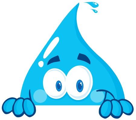 Lachend Water Drop verschuilen achter een Teken Stock Illustratie
