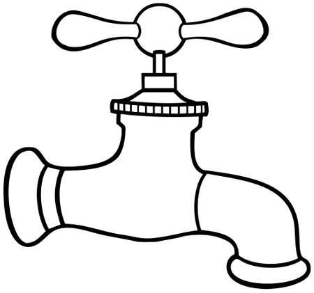ahorrar agua: Esboz� grifo de agua Vectores