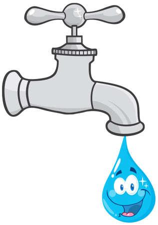 kropla deszczu: Kran wody z Uśmiechnięta kropli wody postać z kreskówki Ilustracja