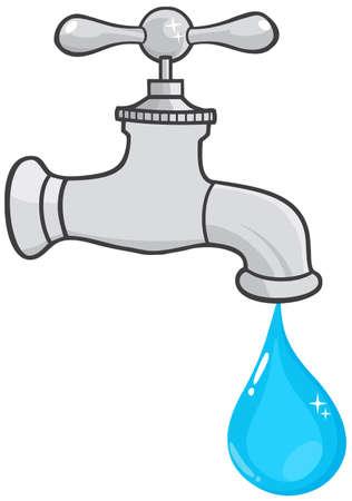 conservacion del agua: El agua del grifo con gota de agua Vectores