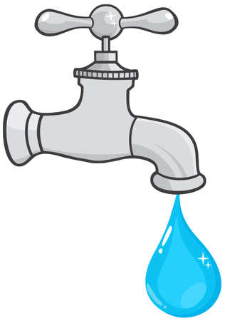 faucet water: Water Faucet With Water Drop  Illustration