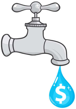 Water Faucet With Dollar Dripping Vector