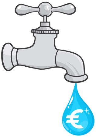 Water Faucet With Euro Dripping Vector