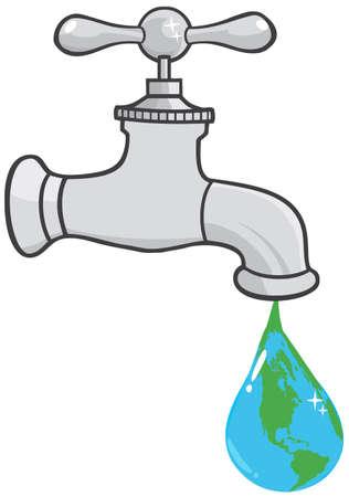 llave de agua: Fuga de la gota del grifo Planeta Tierra