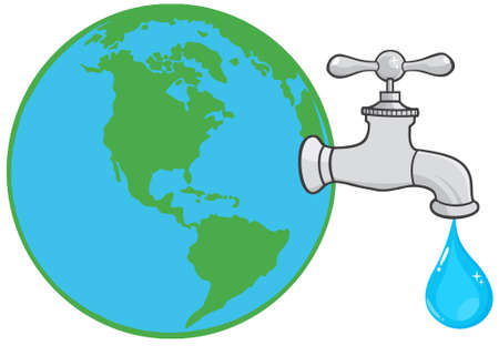 waterworks: Earth Globe With Water Faucet And Drop Illustration