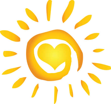 Summer Hot Abstract Sun With Heart Vector