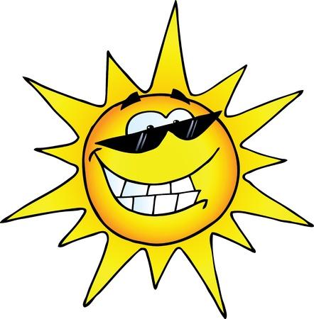 soleil souriant: Sourire personnage de bande dessin�e avec des lunettes de soleil Illustration