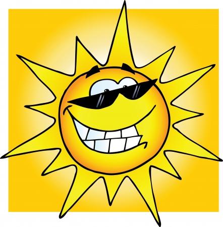 Lachende zon met zonnebril
