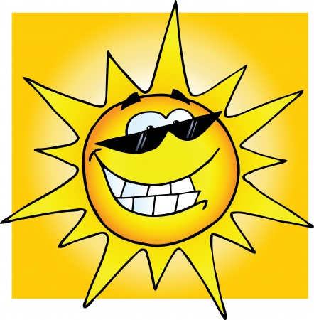 sun ray: Smiling Sun With Sunglasses  Illustration