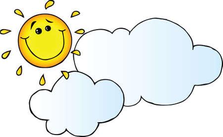 sun energy: Smiling Sun Behind Cloud Cartoon Character Illustration