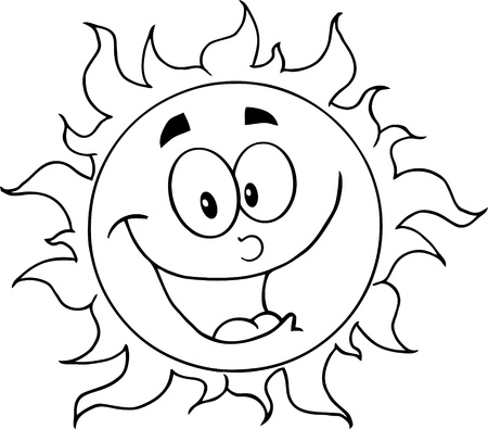 outlined isolated: Outlined Happy Sun Cartoon Character