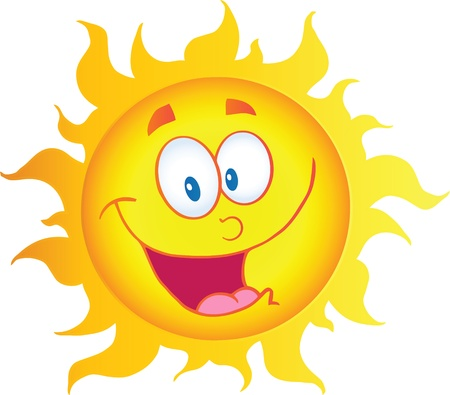 sun energy: Happy Sun Cartoon Character