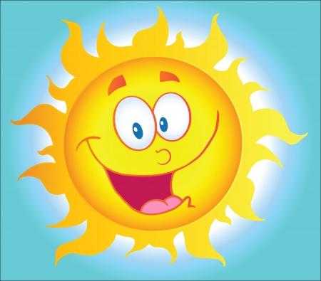背景での幸せな太陽漫画のキャラクター  イラスト・ベクター素材
