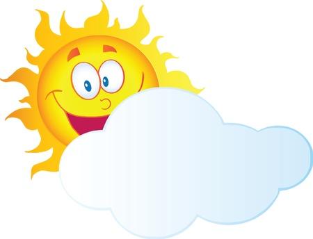 Gelukkige Zon Cartoon Character verbergen Achter Cloud