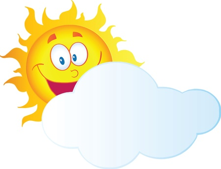 Happy Sun Cartoon Character Hiding Behind Cloud Vector