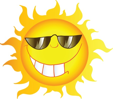 sun energy: Smiling Sun Cartoon Character With Sunglasses  Illustration